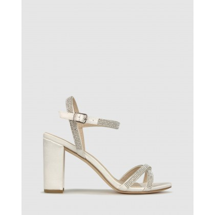 Hopeful Bling Strap Block Heels Ivory by Betts