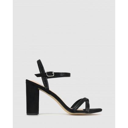 Hopeful Bling Strap Block Heels Black by Betts