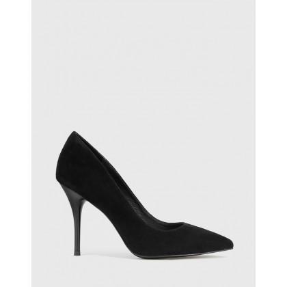 Hughes Pointed Toe Stiletto Heels Black by Wittner