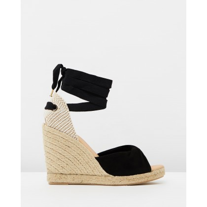 Hvar Espadrille Wedges Black Suede by Office