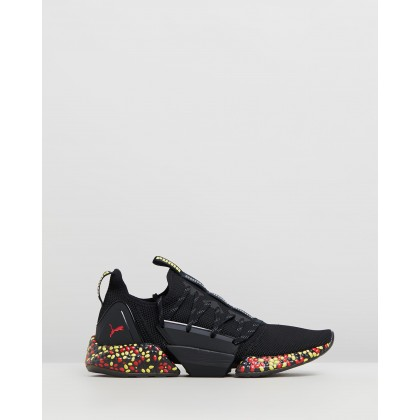 Hybrid Rocket Runner Shoes - Men's ???Puma Black, Blazing Yellow & High Risk Red by Puma