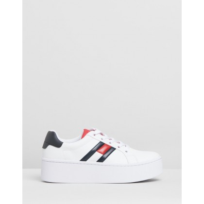 Icon Sneakers - Women's Red, White & Black by Tommy Hilfiger