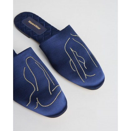 ICONIC EXCLUSIVE - The Line Slippers Navy & Gold by Mara & Mine