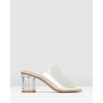 Icy Cylinder Heel Mules Nude Clear by Zu