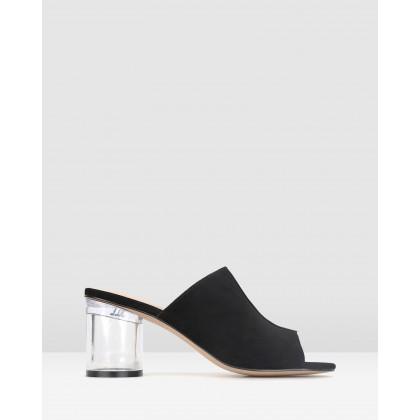 Icy Cylinder Heel Mules Black Suede by Zu