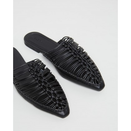 Idiona Backless Braided Shoes Black by M.N.G
