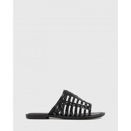 Ilex Leather Slip On Flat Sandals Black by Wittner