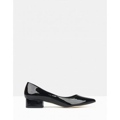 Impulse Pointed Toe Block Heel Pumps Black Patent by Betts