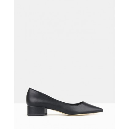 Impulse Pointed Toe Block Heel Pumps Black by Betts