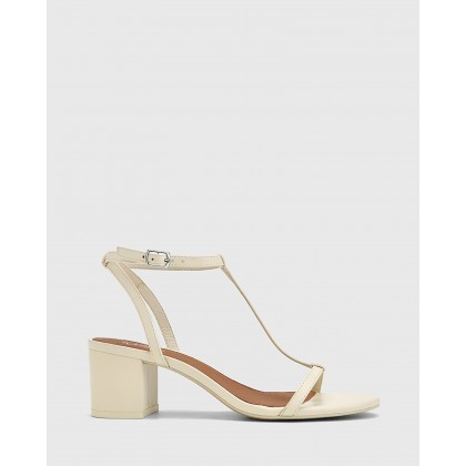 Inara Leather Open Toe Block Heel Sandals Cream by Wittner