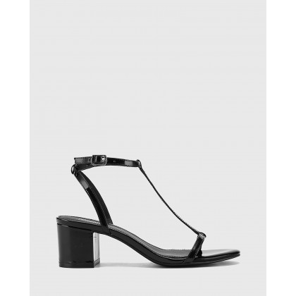 Inara Leather Open Toe Block Heel Sandals Black by Wittner