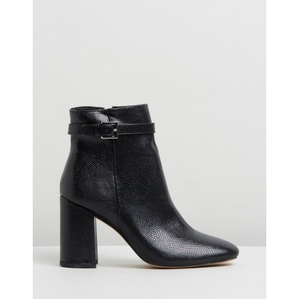 Indianna Ankle Boots Black Lizard by Dazie