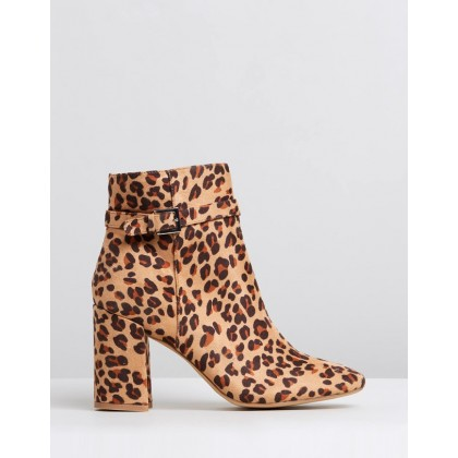 Indianna Ankle Boots Leopard Microsuede by Dazie