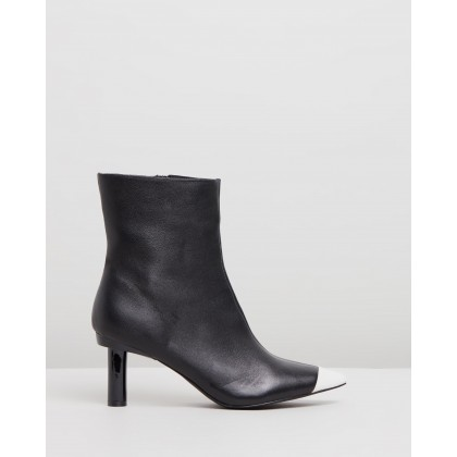 Ines Leather Ankle Boots Black & White by Atmos&Here