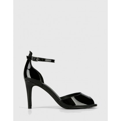 Inka Patent Leather Stiletto Sandals Black by Wittner