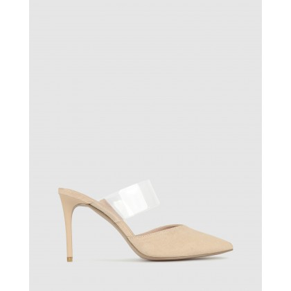 Isobel Pointed Stiletto Mules Nude/Clear by Zu