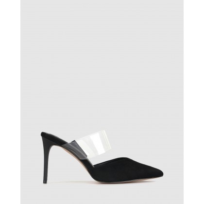 Isobel Pointed Stiletto Mules Black/Clear by Zu