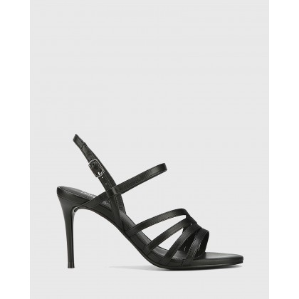 Izarra Leather Open Toe Stiletto Heel Sandals Black by Wittner