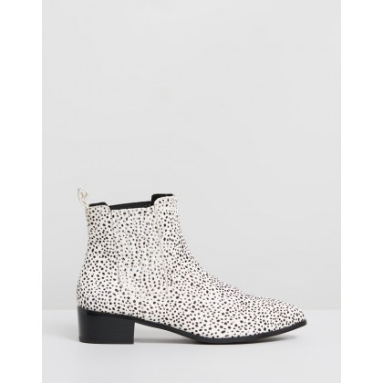 Jada Leopard Boots Mini White & Black Spot by Walnut Melbourne