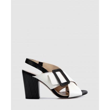 Jade Block Heels Bianco/nero by Sempre Di