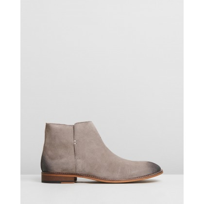 Jagger Suede Zip Boots Taupe by Double Oak Mills
