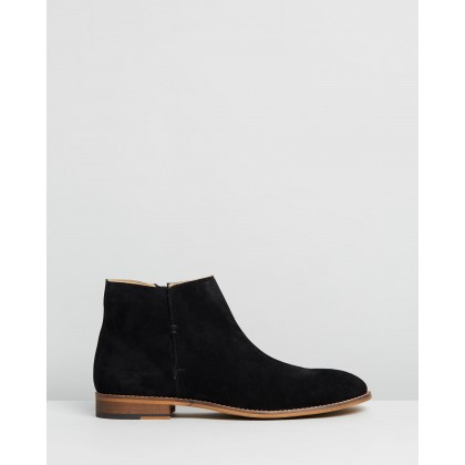 Jagger Suede Zip Boots Black by Double Oak Mills