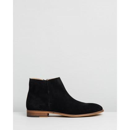 Jagger Suede Zip Boots Black by Double Oak Mills
