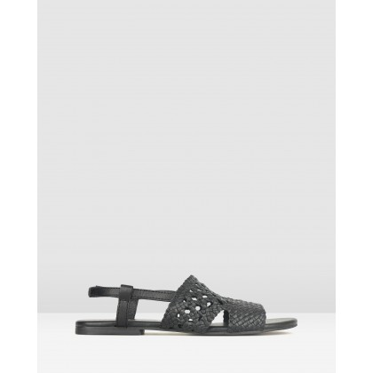 Jasper Woven Leather Sandals Black by Betts