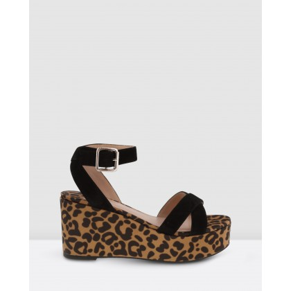 Jax Black Kid Suede/Leopard Satin by Tony Bianco