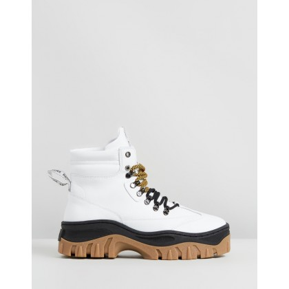 Jaxstar Leather Ankle Boots White, Black & Gum by Bronx