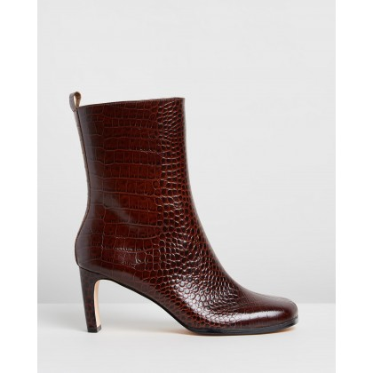 Jeanne Leather Ankle Boots Brown Croc by Atmos&Here