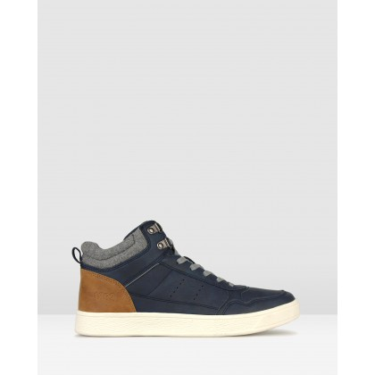 Jed High Top Lifestyle Sneakers Navy by Betts