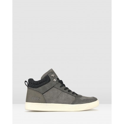 Jed High Top Lifestyle Sneakers Charcoal by Betts