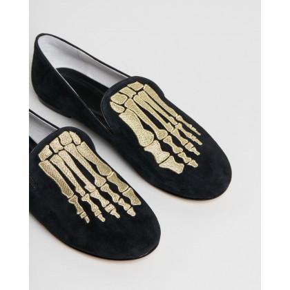 Jem Skull Slippers Black & Gold by Mara & Mine
