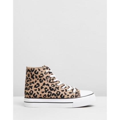 Jemma Platform High Top Sneakers Leopard Print Canvas by Rubi