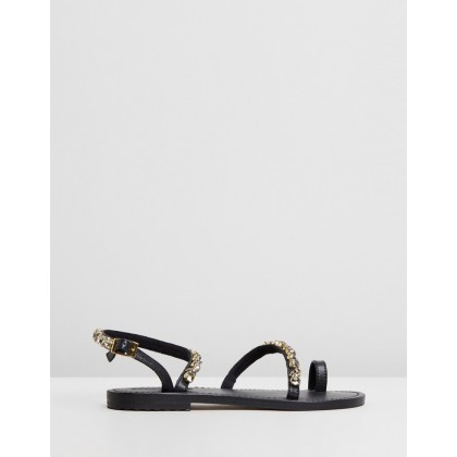 Jewel Ankle-Strap Sandals Black Diamond by Mystique