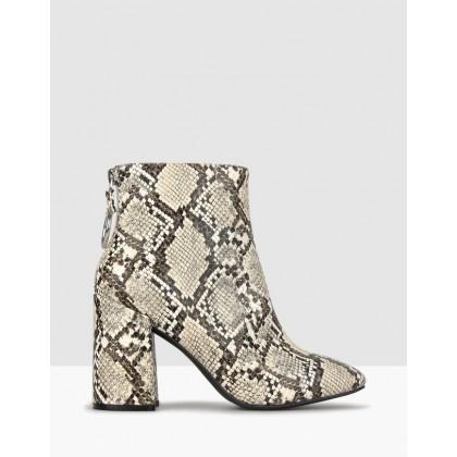 Joker Block Heel Ankle Boots Snake by Betts