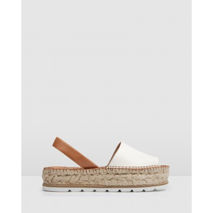 Jula Low Heel Flatform Espadrilles Natural / White by Jo Mercer
