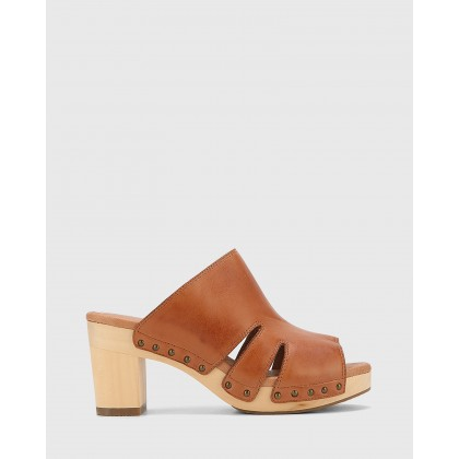 Kaley Leather Wooden Block Heel Sandals Tan by Wittner