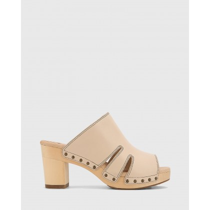 Kaley Leather Wooden Block Heel Sandals Nude by Wittner