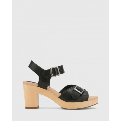 Kalika Leather Wooden Block Heel Sandals Black by Wittner