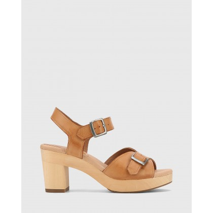 Kalika Leather Wooden Block Heel Sandals Tan by Wittner