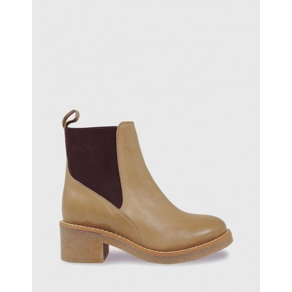 Kalinda Leather Stretch Round Toe Block Heel Ankle Boots Beige by Wittner