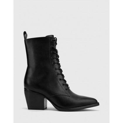 Kallie Lace Up Block Heel Ankle Boots Black by Wittner