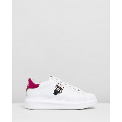 Kapri Karl Ikonic Lo Lace Sneakers White Leather With Pink by Karl Lagerfeld