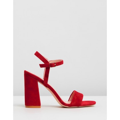 Katrina Leather Block Heels Red Suede by Atmos&Here
