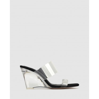Keely Vynalite Wedge Mules Black/Clear by Zu