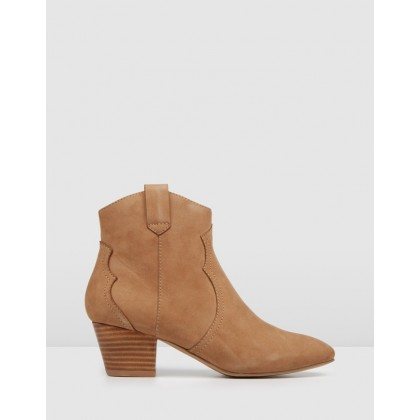 Keighan Low Heel Ankle Boots Dark Taupe Nubuck by Jo Mercer