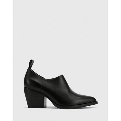 Keisha Pointed Toe Block Heel Booties Black by Wittner