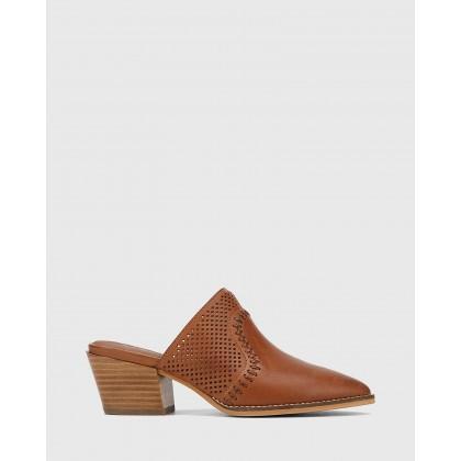 Kiara Leather Block Heel Almond Toe Mules Brown by Wittner